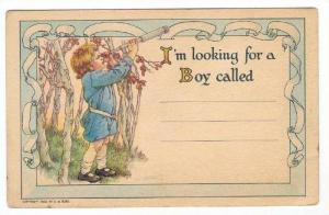 Boy with telescope, RALLY Day card   Artist C.M.BURD 1922