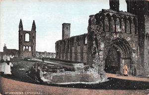 Scotland, UK Old Vintage Antique Post Card St. Andrews Cathedral Unused