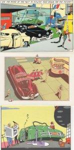 Ever Meulen Belgium Illustrator 3x Car Cartoon Postcard s