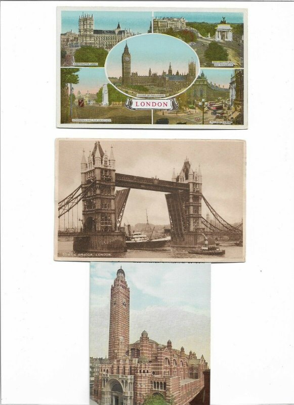 UK London Westminster Abbey Tower Bridge and More Postcard Lot of 10 01.11