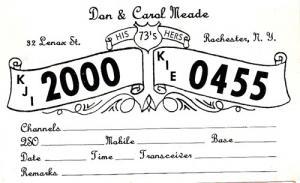 CB QSL - KJI2000 & KIE0455, Dan & Carol Meade, Rochester NY