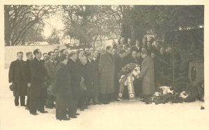 Social history funeral at the graveside of parents real photo postcard back note
