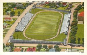 Bristol Tennessee~Aerial Municipal Football Stadium~Houses~1940s Postcard