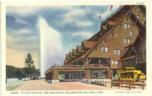 Old Faithful Inn and the Geyser, Yellowstone National Park, Wyoming, WY, Linen