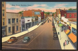 41720) Connecticut MERIDEN Main Street with Store Fronts and Older Cars - LINEN