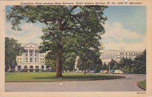 Greenbrier Hotel Showing Main Entrance White Sulphur Springs West Virginia 1949