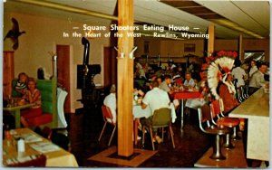 Rawlins, Wyoming Postcard SQUARE SHOOTERS EATING HOUSE Restaurant c1960s unused