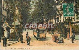 Postcard Old Nice Tramway Avenue Station