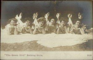 Bathing Beauty Women GREEN BIRD BATHING GIRLS Boston Kosmos Art Co RPPC