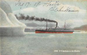 Alaska Ice Steamship Spokane Boat Antique Postcard K102705