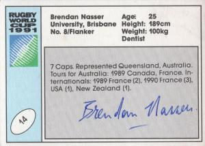 Brendan Nasser Australia Hand Signed Rugby 1991 World Cup Card Photo