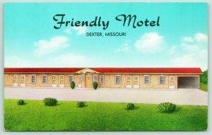 Dexter Missouri~FJ Ogles Friendly Motel~Roadside US Highway 60~1950s Postcard
