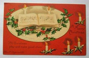 Vintage Christmas Postcard Ellen Clapsaddle 51342 Embossed Music Book Candles
