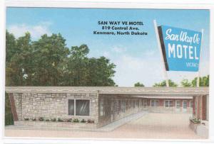 San Way Ve Motel Kenmare North Dakota 1965 postcard