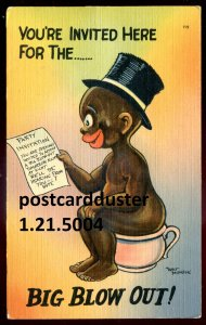 5004 - HUMOR Postcard 1940s Artist- Walt MUNSON Derogatory Black Kid