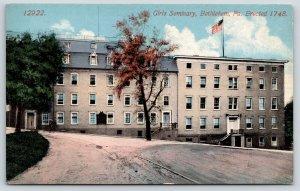 Bethlehem Pennsylvania~Trolley Tracks by Girls Seminary on Hillside~1908