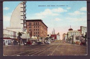 P1470 old unused postcard broadway street view san diego calif, old cars bowling