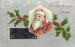 Christmas~Santa In Gold Inset~Pink Suit~Tassled Hat~Holly~Silver Back~Emb~Winsch