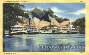 Steamboat races on the river Steamer Ship Ships Postcard Postcards Unused