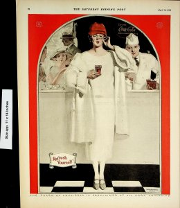 1924 Coca Cola Refresh Yourself Bar Fountain Woman Vintage Print Ad 4220