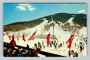 Franconia Notch NH- New Hampshire, Ski Slopes at Mittersill, Chrome Postcard