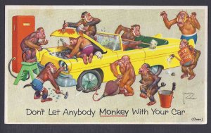 Ca 1940'S PRESTONE ANTI-FREEZE ADV W/MULTI COLORED MONKEYS ON REVERSE