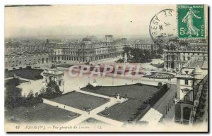 Old Postcard Paris General view of the louvre