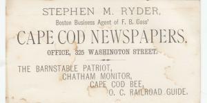 CAPE COD, Massachusetts, 1900-10s; Business Card for Stephen M. Ryder
