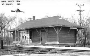 Mt Summit Indiana NW Railroad Depot Real Photo Vintage Postcard K101391