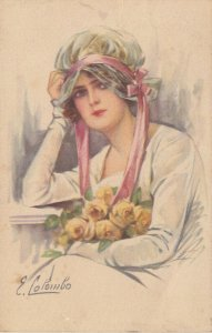 Art Deco ; COLOMBO , Female Fashion Portrait, Girl with Yellow Roses , 1920