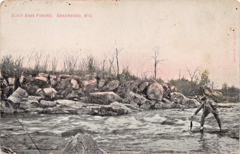 GREENWOOD WISCONSIN~BLACK BASS FISHING-KROPP PUBLISHED POSTCARD 1910s