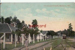 1910 MARINETTE WI Chautauqua Grounds, Trolley, Education Movement