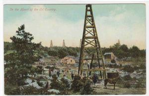 Oil Well In The Heart of Oil Country 1910c postcard