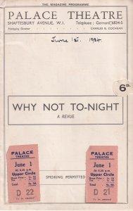 Nelson Keys Greta Nissen Why Not Tonight Theatre Programme & TICKETS