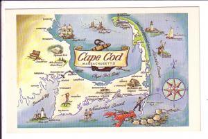 Pictorial Map, Cape Cod,  Massachusetts, Lobster, Golf, Lighthouses Etc
