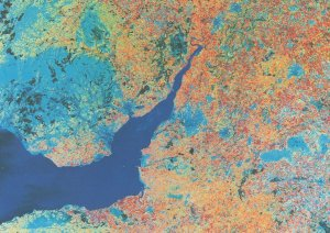 Lower Severn Valley River from Outer Space Astronomy Map Postcard