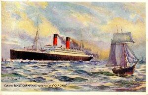 Cunard Line - RMS Carmania and Caronia. Artist: Rosenvinge