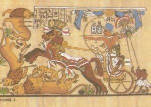Tutankhamun Hunting The Lion 18th Dynasty Egyptian Postcard