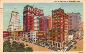 In the Heart of Memphis, Tennessee, Early linen Postcard, Used in 1951