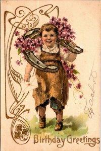 Postcard Birthday Greetings Boy WITH Horseshoe - VINTAGE - 1908