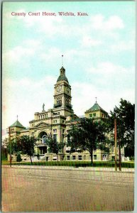 Wichita, Kansas Postcard Sedgwick County Court House Street View Intl PC c1910s