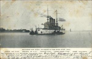 US Navy Battleship New Jersey Quincy Fore River MA c1905 Postcard
