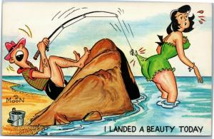Comic fisherman catches hook on woman's bathing suit - landed a beauty - moon