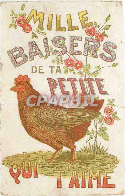 Postcard Old Thousand Kisses Little Hen who t'Aime