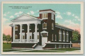 McPherson Kansas~Four Ionic Columns~1st Presbyterian Church~Belltower c1915 PC