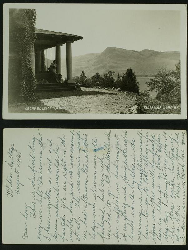 Orchardleigh Lodge Kalamalka Lake BC  RPPC  1943