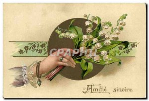 Old Postcard Fantasy Flowers Lily of the Valley Hand
