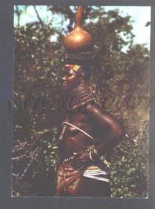 046353 Semi-Nude BLACK Woman w/ pot Old photo PC