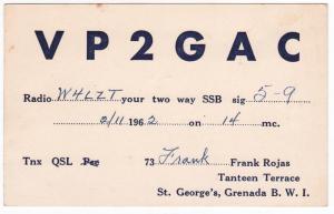 QSL, VP2GAC, St. George's, Grenada, 1962