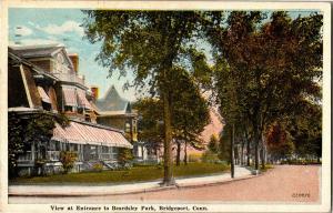 View of Entrance to Beardsley Park, Bridgeport CT c1921 Vintage Postcard Q17